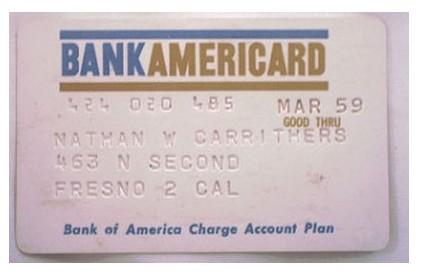 Карта BankAmericard, 1959 год