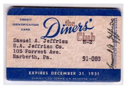 Карта Diners Club, 1951 год